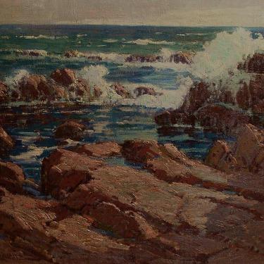 Deep blue-green seawater, Ocean spray and rocks by Paul Lauritz oil painting
