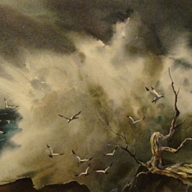 Birds and Spray by Robert Landry 12x20 Watercolor