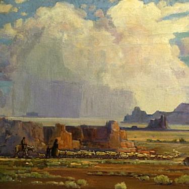 Roy Ropp Distant Thunderheads Monument Valley 24x28 Oil