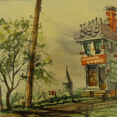 Stanley Brody General Store 10x14 Watercolor