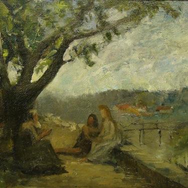 Stephen Seymour Thomas The Teacher 12x16 Oil on Canvas