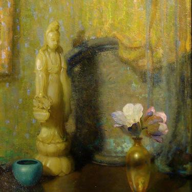 Theodore Lukits Figure and Vase 20x16 Oil on Board