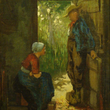 Unknown Artist Dutch Peasants 12x9 Oil on Canvas