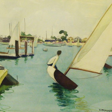 Virginia McCallister Sailing Newport Bay 15x22 Watercolor