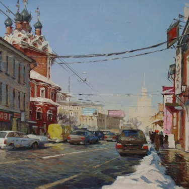 Vladamir Derlach Moscow Street 18x24 Oil on Canvas