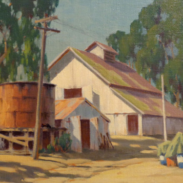 Wilton McCoy Water Tank and Barn 12x16 Oil on Canvas