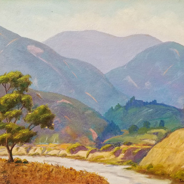 C B Green Arroyo Hills Pasadena 16x20 oil on board $350