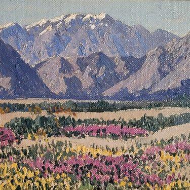 Carl Sammons Desert Flowers 6×8 Oil on Board 595