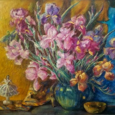 Eleanor Kentner Kohler Irises 25x30 Oil on Canvas