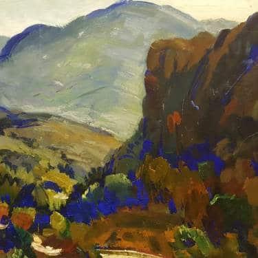 George Edmund Barker Jr Valley Blue 14x18 Oil on Board