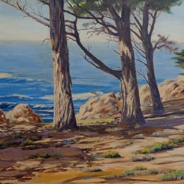Harold R. Loy Pines along the California Coast 25x30 Oil on Canvas