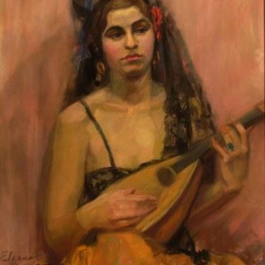 Eleanor Merriam Spanish Lute Player 20x16 Pastel
