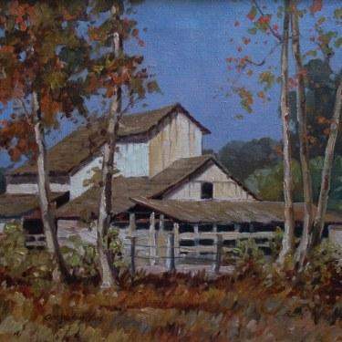 George Wallace Olson Arroyo Barn 16x20 Oil on Canvas
