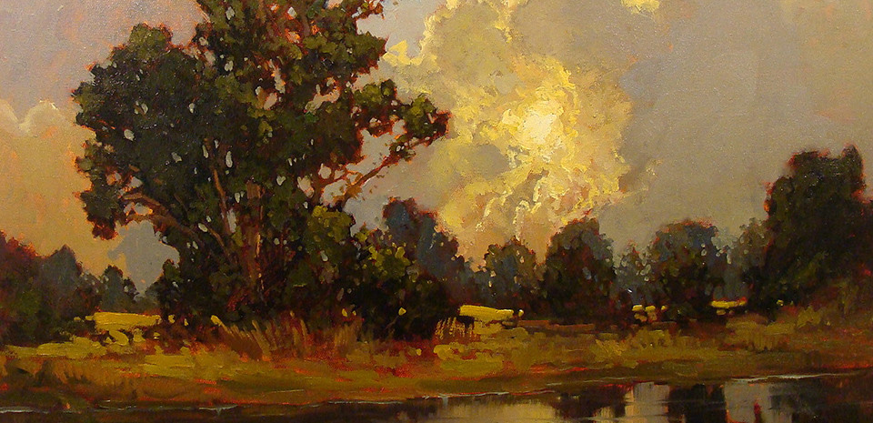 Storm Clouds Trees and Sunlight Jan Shmuckal Painting