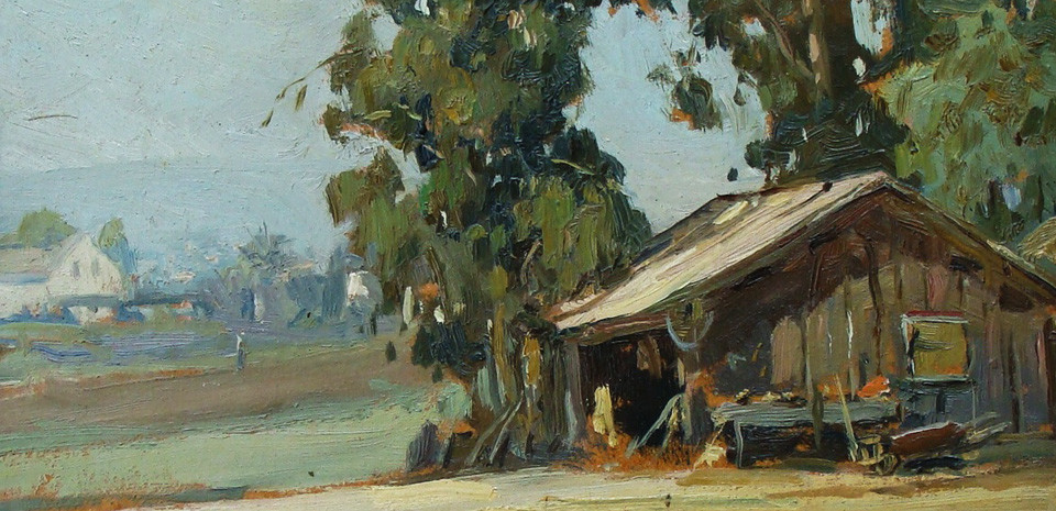 Angel Espoy, oil painting, plein air, california artist, old farm shed