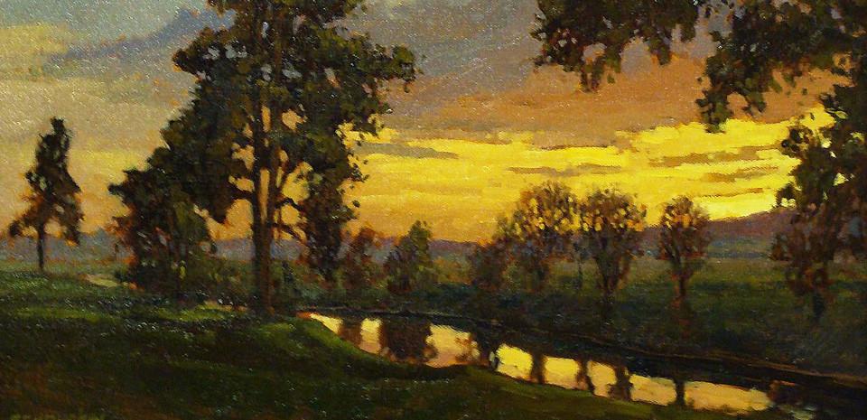 Jan Schmuckal, Sunset, oil painting