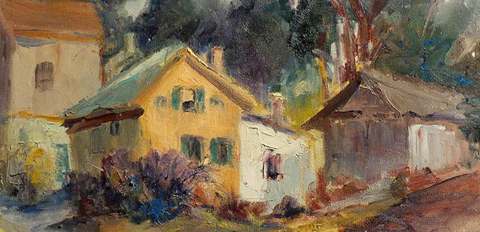 Bach Painting of Rustic Homes
