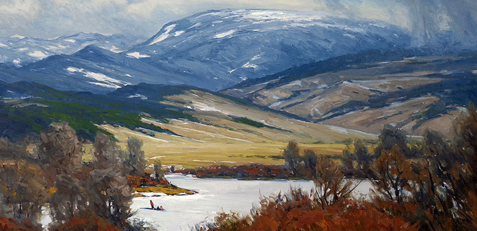 Taylor Lynde, oil painting, winter mountains, snow