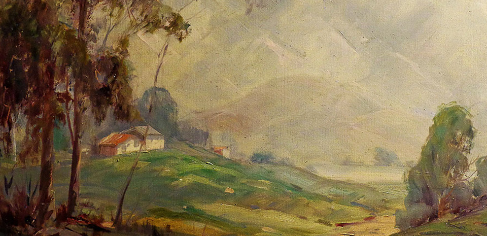 Thomas Ewing King, oil painting, cottage tucked in hills, landscape