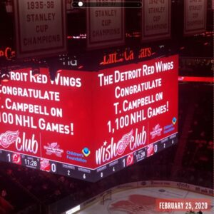 Congratulations Tunes by T Owner - T. Campbell on your 1,100th NHL Game as the Official DJ of the Detroit Red Wings.