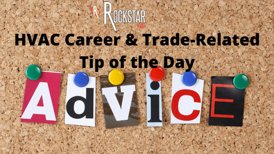 HVAC Career & Trade Related Tip of the Day Picture: cork board with the word pinned up in different coloured paper