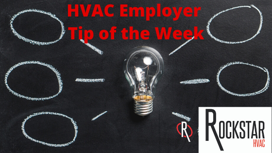 HVAC Employer Tip of the Week Image: Unlit lightbulb on black background with 6 bubbles of ideas coming out