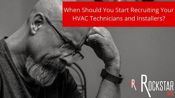 Blog Image When Should You Start Recruiting Your HVAC Technicians and Installers: grey picture of bald man with a beard looking down thinking and his hand on head