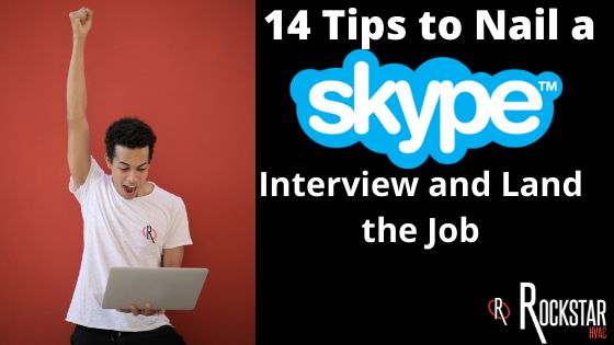 14 Skype Interview Tips to Land the Job Image: Coloured man in white shirt raising right arm in air in victory and holding white laptop with the right side in black background and skype interview tips title