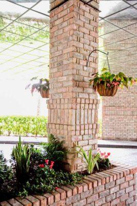 Landscape design under portocochere in Houston, Tx