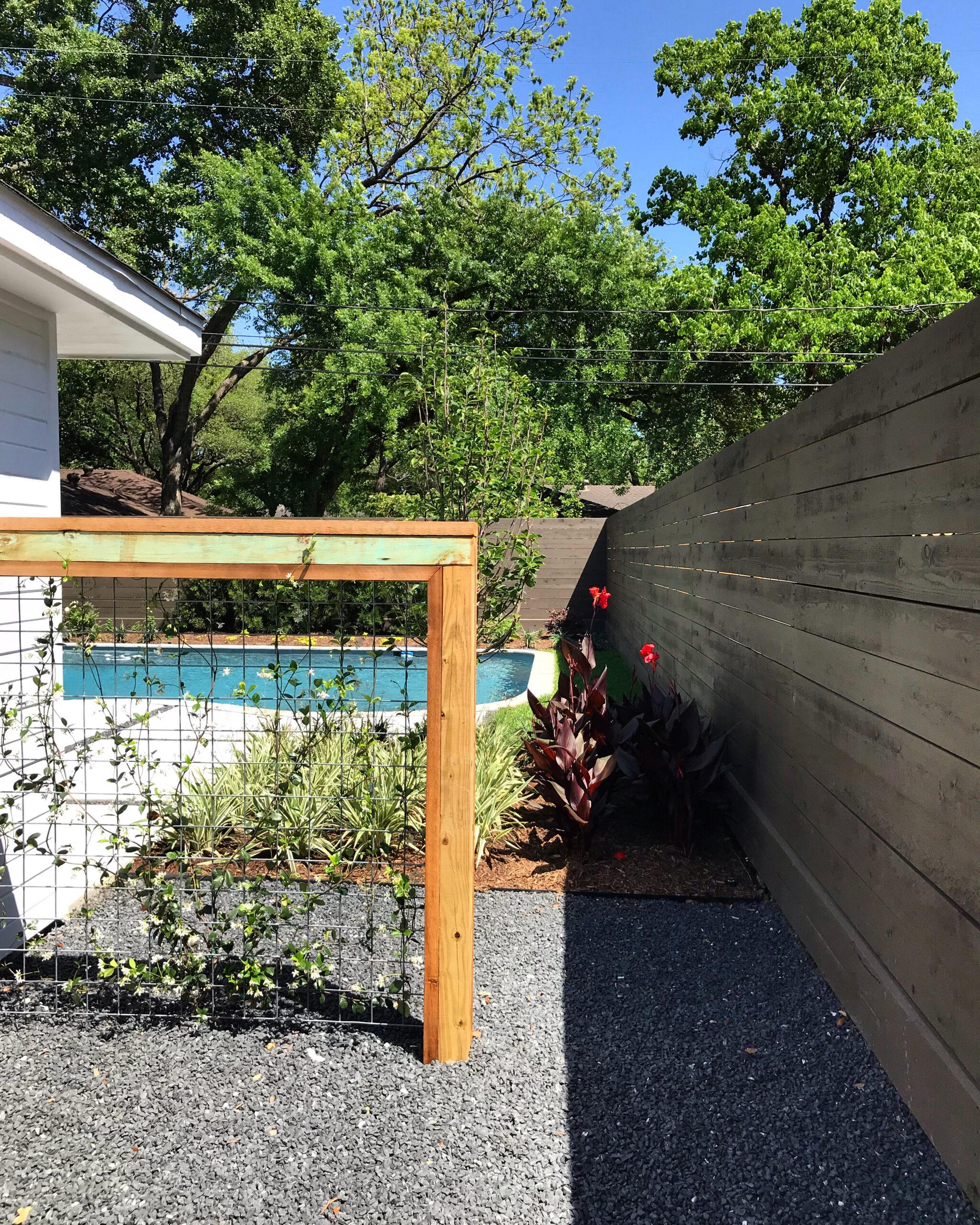 goat fence screen, goat fence panel, houston trellis, houston landscape design, houston modern landscape design, blackstar gravel,