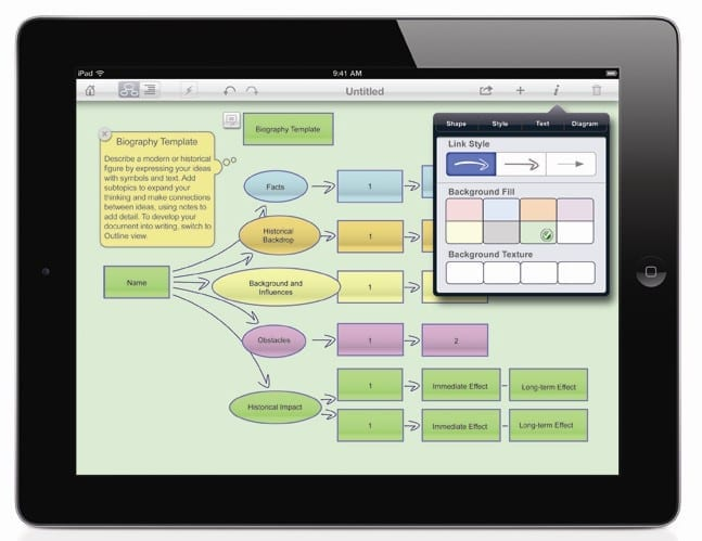 An image of a tablet computer with mind-mapping software open on the screen.
