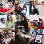 various students using assistive technologies