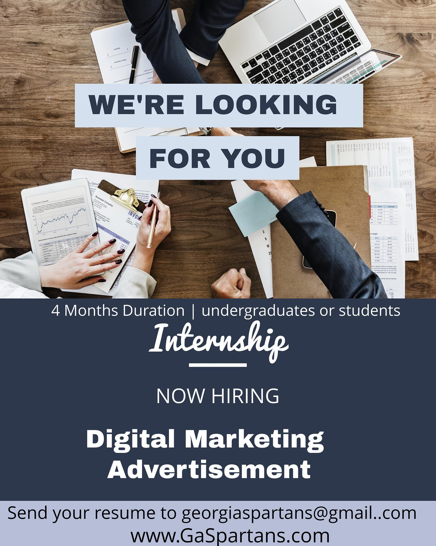 We looking for interns for our upcoming season from Jan 9 thru April 3rd. We need a digital marketing and advertisements expert f