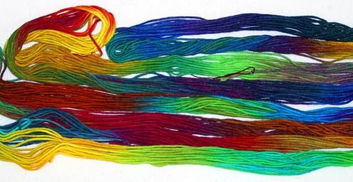 Vibrant hand dyed embroidery threads