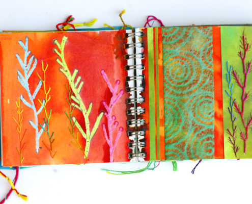 Kori_Crane Hand stitch can make a beautiful addition to an artist's sketchbook