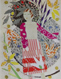 Sample of Couching and Laidwork stitching by Rebecca Crompton