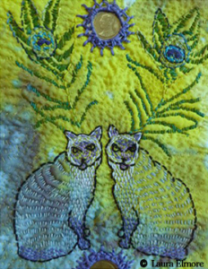 Two cats made with kantha stitching by Gail Harker's student Laura Elmore