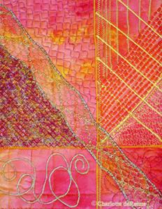 Machine stitching sampler by Gail Harker's student Charlotte deRenne