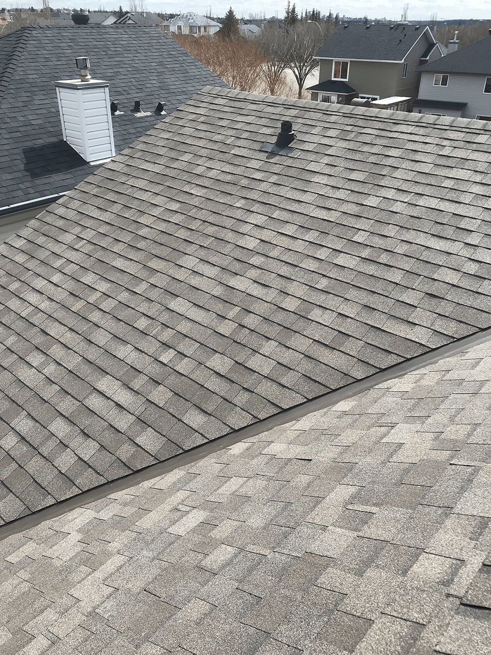 sloped grey shingled roof