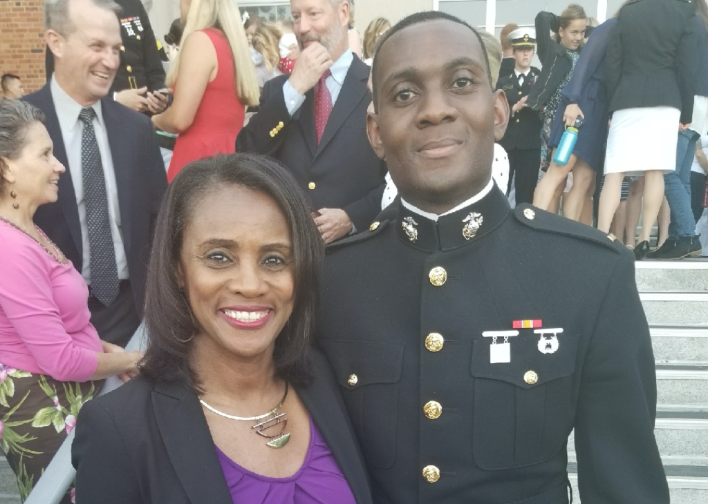 Alisa and her son, who is in Marine uniform