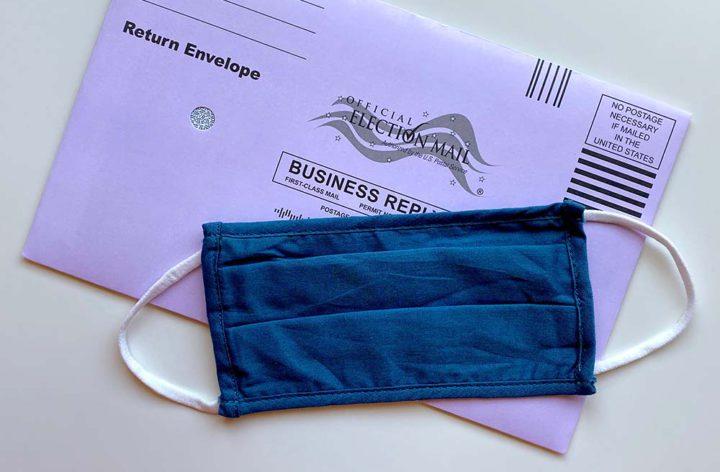 a mask on a return envelope