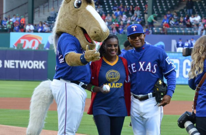 Alisa with rangers captain and player