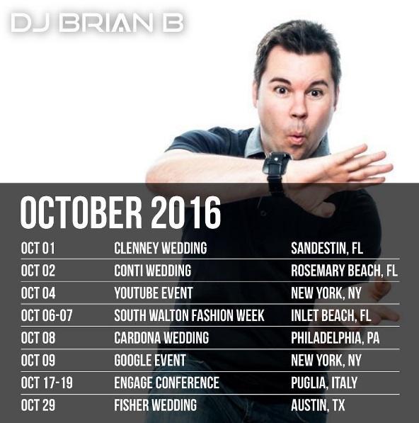 Brian B October 2016 Schedule
