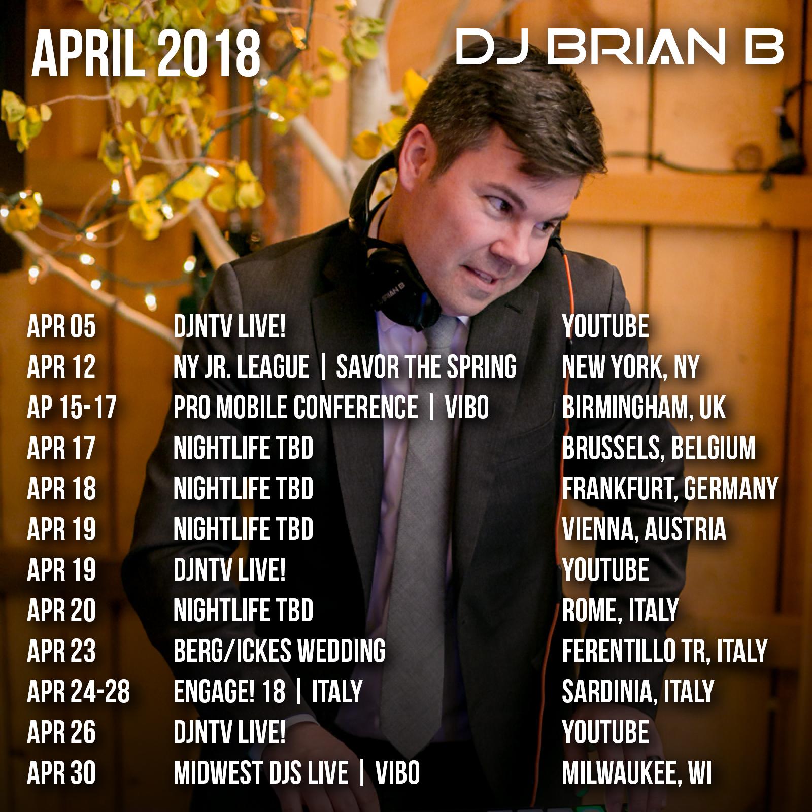 April 2018 Brian B Event Schedule