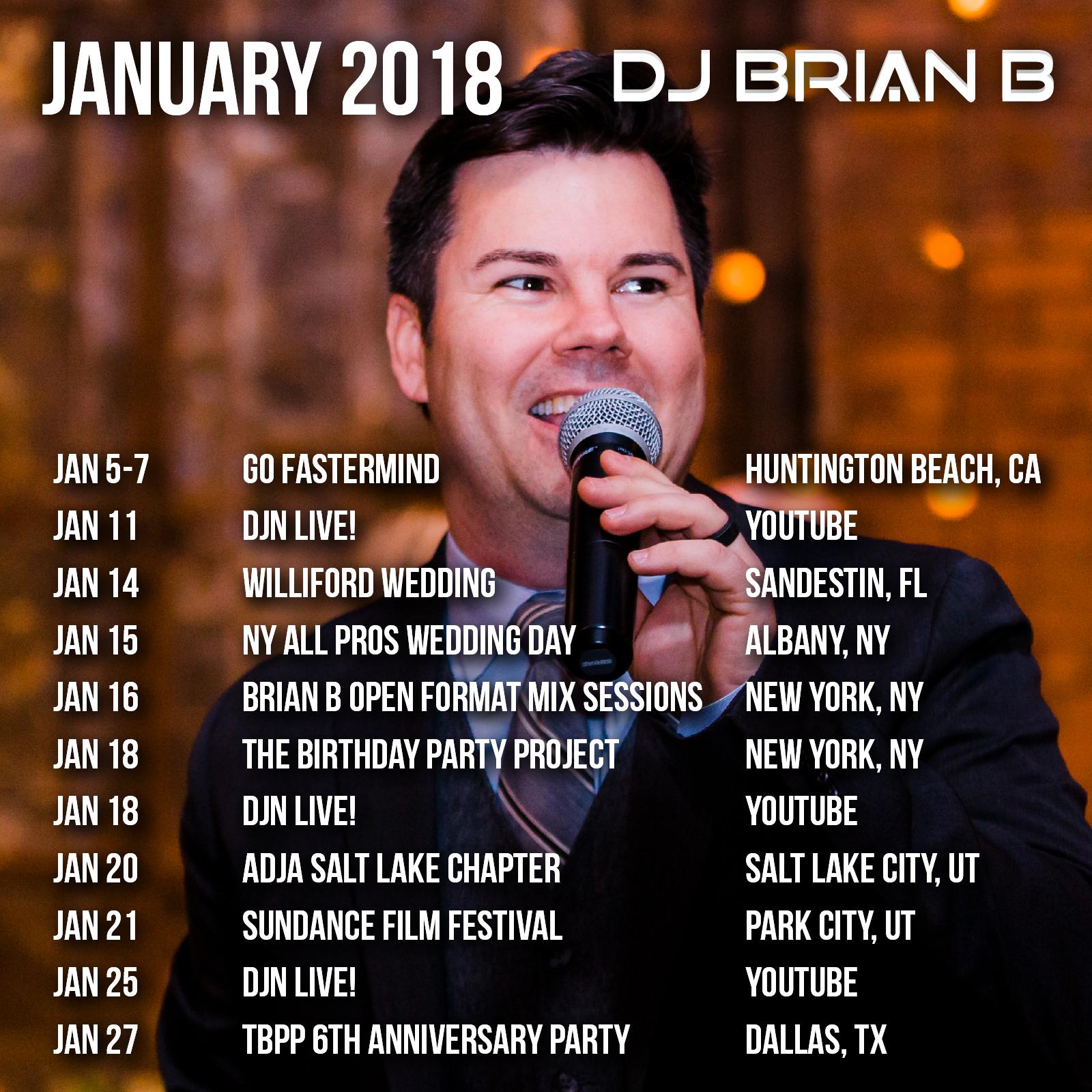 January 2018 Brian B Event Schedule