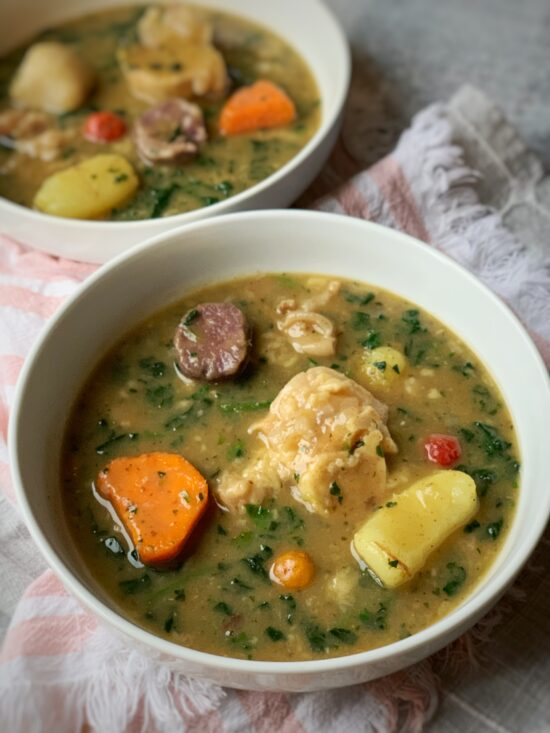 Two bowls of cow heel soup