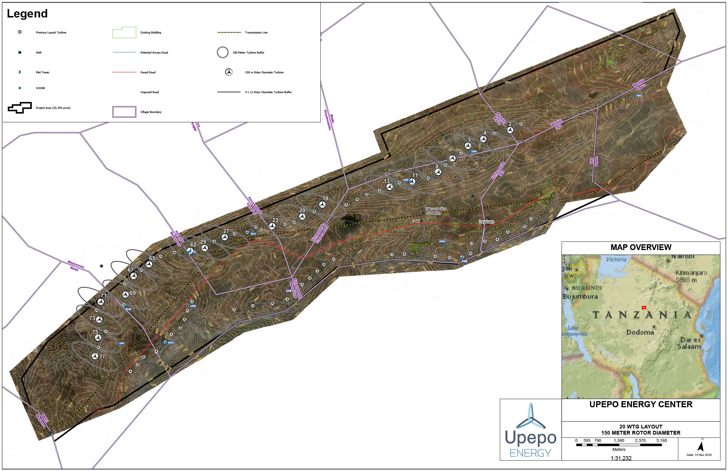 This site layout highlights the turbine locations, roads and the substation for the 100MW first phase of the Upepo Energy Center.