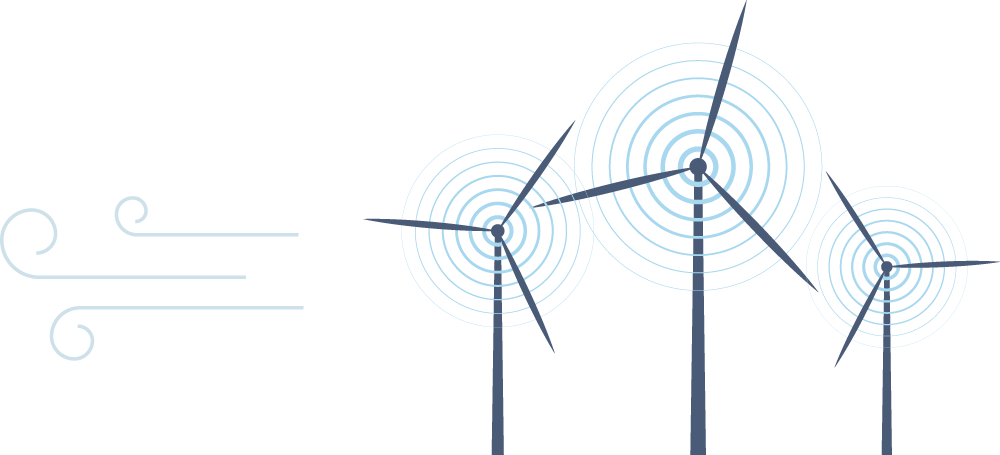 Illustration of windmills with wind depicted as light blue lines