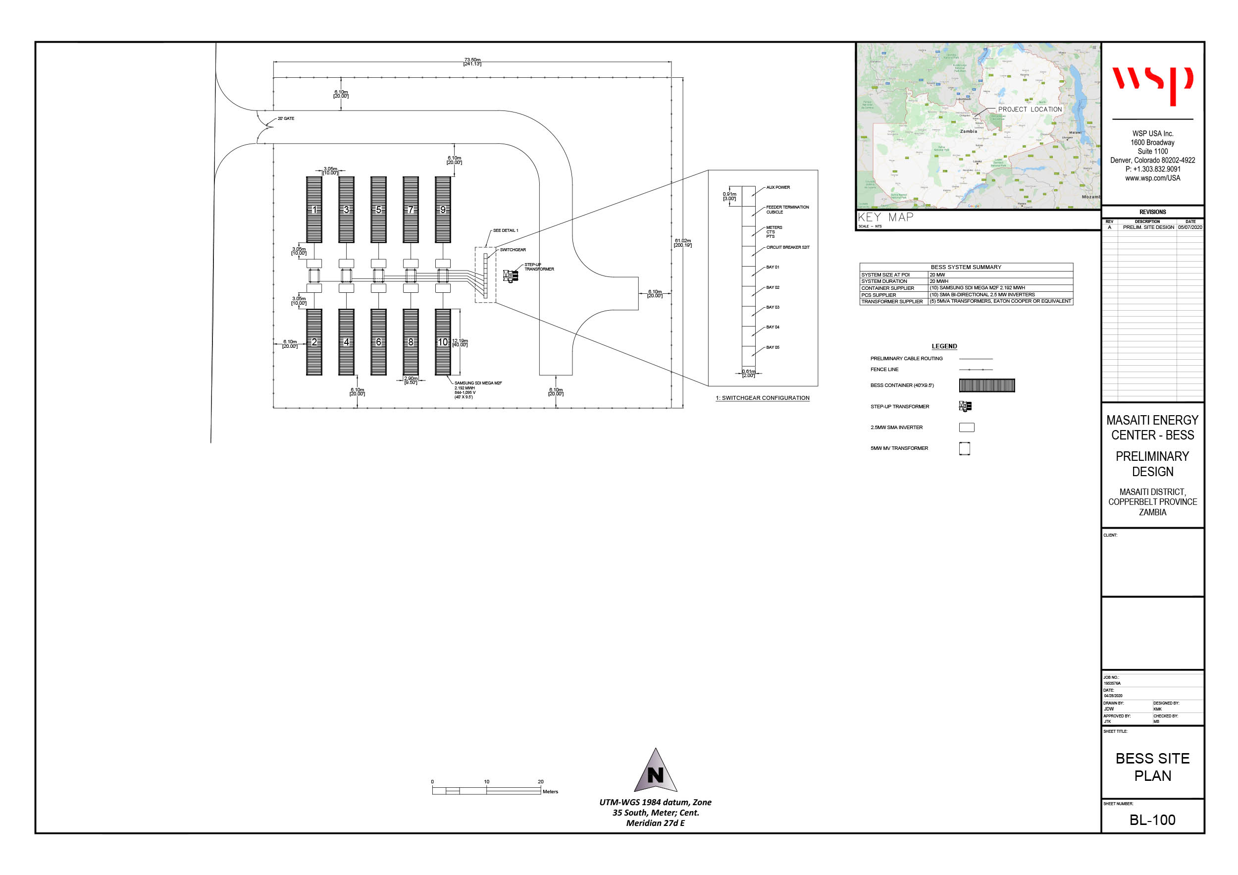This is a preliminary battery energy storage system (BESS) layout. This BESS will be co-located with the solar farm.
