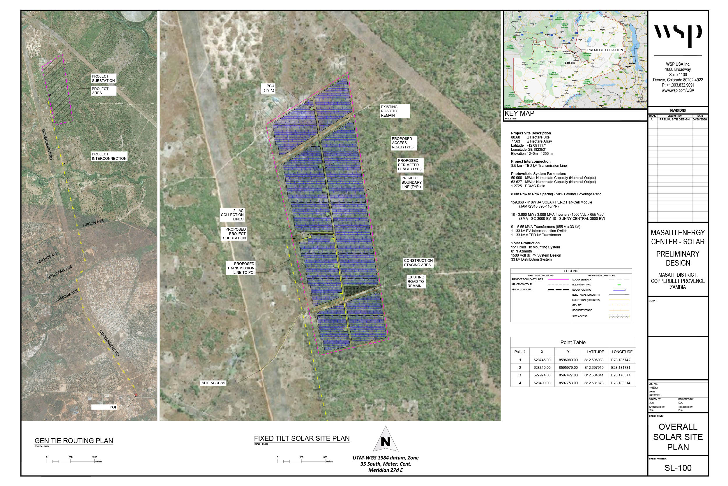 This is a preliminary solar farm and substation layout for the 50MW solar farm in Kitwe adjacent to a CEC right of way and near a CEC substation.